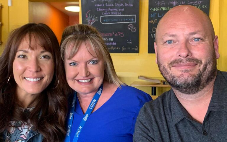 Local school principals Jeena Templeton of Everitt Middle, Trina Jones of Stevens Elementary and Josh Cooley of Wheat Ridge High in conversation with the Neighborhood Gazette at Right Coast Pizza
