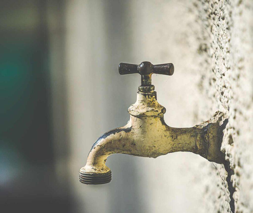 An outdoor faucet