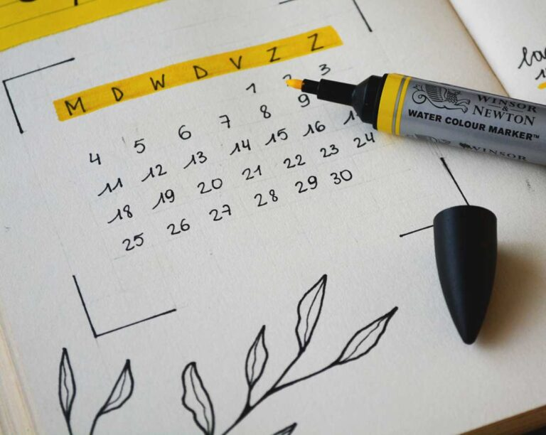 A calendar with a yellow highlighter